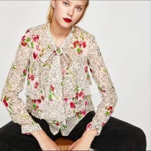 NWT Zara Trf Floral Sheer Star Pussy Bow Top